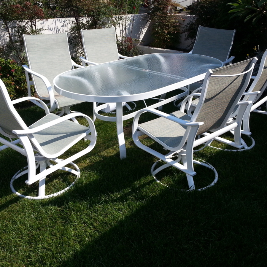 Patio chairs, table and slings