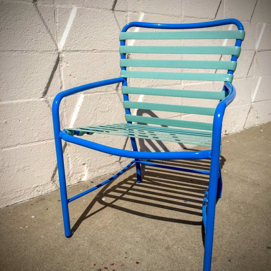 Patio chair- powder coating and vinyl strapping