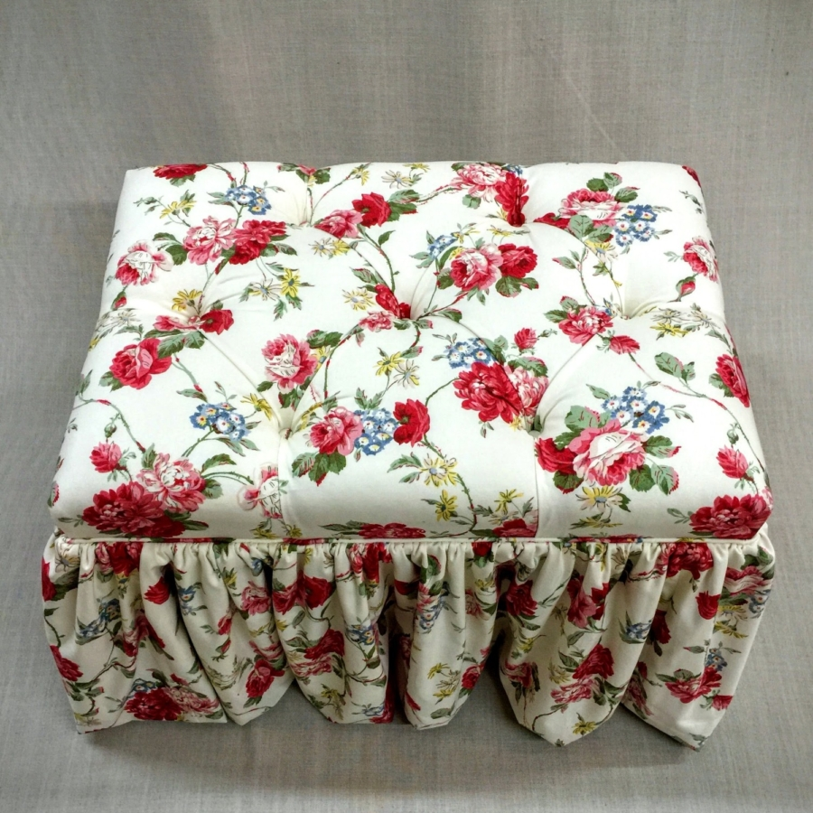 Floral Upholstered Ottoman with Ruffle Skirt